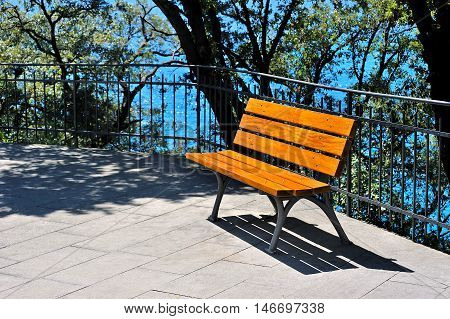 bench near the water in the park on a sunny day. Focus on the bench
