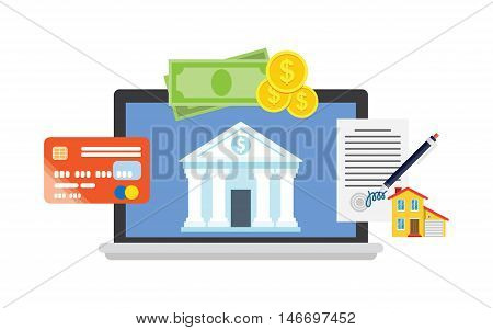 Online banking theme, flat style, illustration processing of mobile payment credit card. Online purchase on digital computer.