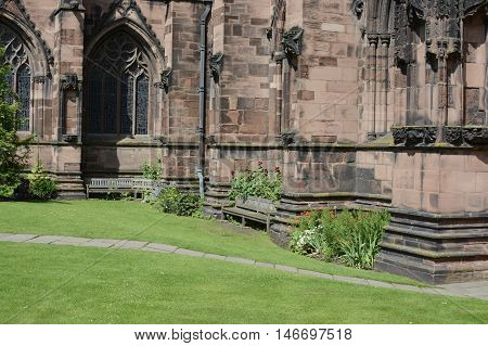 Chester cathedral lower view, Chester, Cheshire, UK