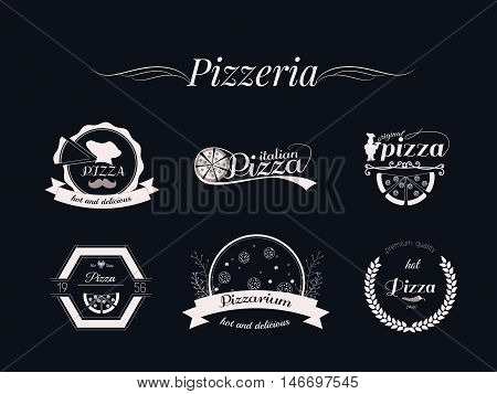 Set of Pizza logos, badges and labels. Pizzeria logotypes