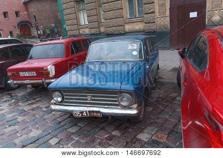 Lviv Ukraine - October 18 2015: Old soviet car parked on a city street