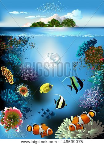 Landscape - underwater world and the island. Marine fish, corals, jellyfish and algae. Vector illustration