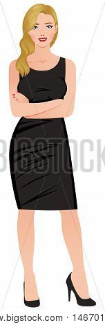 Stock Vector illustration. Beautiful confident young blond woman in full length isolated on white background and dressed in an elegant black dress