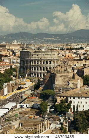 Rome rooftop view with ancient architecture in Italy.