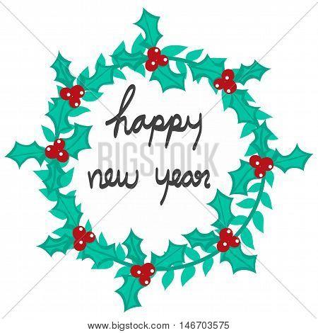 Happy new year wreath illustration on white background