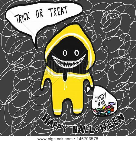 Monster in yellow rain coat with candy bag cartoon illustration