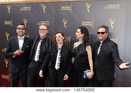 LOS ANGELES - SEP 10:  Guest, Jack Dolgen, Rachel Bloom, Adam Schlesinger at the 2016 Creative Arts Emmy Awards - Day 1 - Arrivals at the Microsoft Theater on September 10, 2016 in Los Angeles, CA