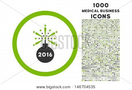 2016 Fireworks Detonator rounded vector bicolor icon with 1000 medical business icons. Set style is flat pictograms, eco green and gray colors, white background.