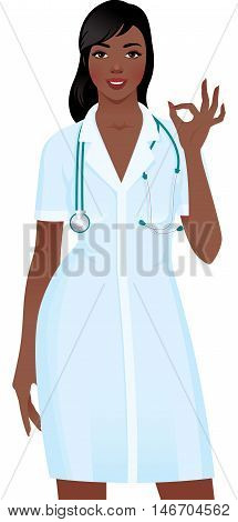 African American Woman doctor in medical uniform showing sign okay