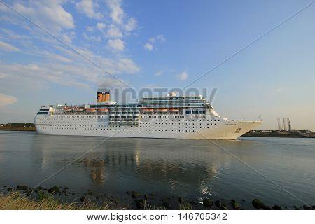 IJmuiden the Netherlands June 4th 2016: Costa Neo Romantica on North Sea Canal towards North Sea