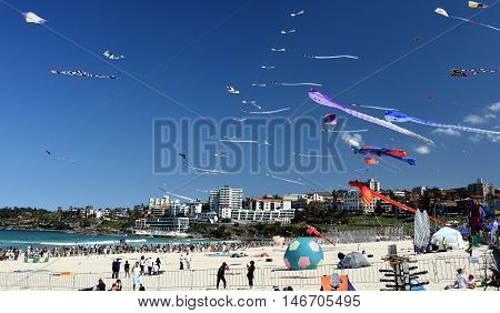 Bondi beach Sydney Australia - Sept 11 2016. Kite flyers and tourists attend the annual kite flying festival at Bondi Beach Sydney. Festival of the Winds.