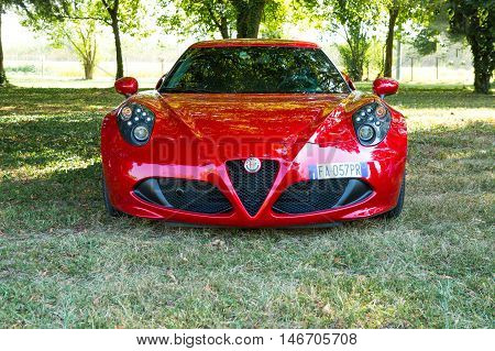 Mogliano VenetoItaly Sept 112016:Alfa Romeo 4C is a two-seater rear-wheel drive coupe with technology and materials derived from the Alfa Romeo 8C Competizione with 1750 turbo petrol engine with direct injection.