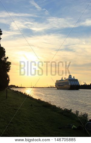 Velsen The Netherlands - August 27th 2016: Azamara Quest a cruise ship owned and operated by Azamara Club Cruises on North Sea Canal