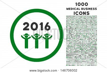 2016 Guys Dance rounded vector bicolor icon with 1000 medical business icons. Set style is flat pictograms, green and gray colors, white background.