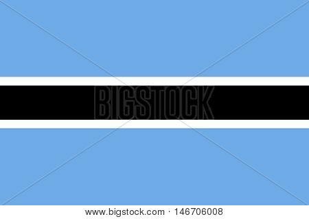 Flag of Botswana in correct size proportions and colors. Accurate official standard dimensions. Botswanan national flag. African patriotic symbol banner element background. Vector illustration