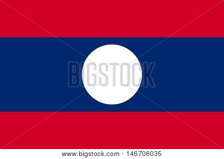 Flag of Laos in correct size proportions and colors. Accurate official standard dimensions. Laotian national flag. Patriotic symbol banner element background. Vector illustration