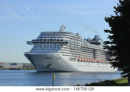 Velsen The Netherlands - September 10th 2016: MSC Splendida a cruise ship owned and operated by MSC Cruises on North Sea Canal