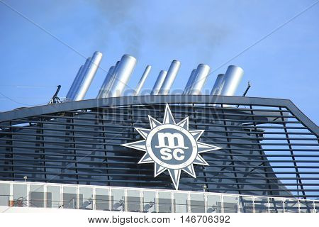 Velsen The Netherlands - September 10th 2016: MSC Splendida a cruise ship owned and operated by MSC Cruises funnel detail