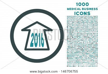 2016 Ahead Arrow rounded vector bicolor icon with 1000 medical business icons. Set style is flat pictograms, soft blue colors, white background.