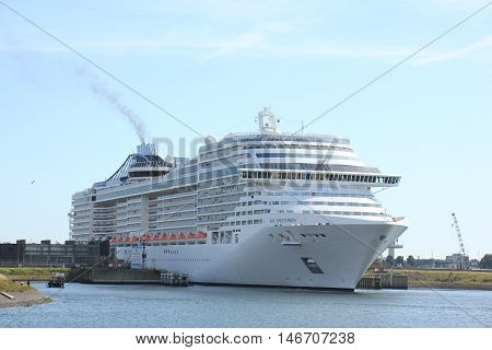 Ijmuiden The Netherlands - September 10th 2016: MSC Splendida a cruise ship owned and operated by MSC Cruises in sea lock IJmuiden