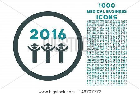 2016 Guys Dance rounded vector bicolor icon with 1000 medical business icons. Set style is flat pictograms, soft blue colors, white background.