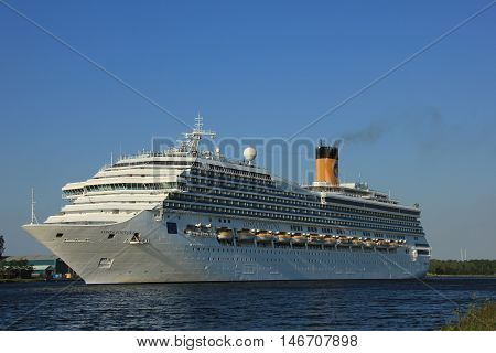 Velsen The Netherlands - June 11 2015: Costa Fortuna Costa Fortuna is a cruise ship owned and operated by Costa Crociere built by Fincantieri Marghera shipyard in 2003. It's 273 m (896 ft) long.