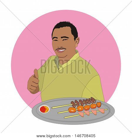 Illustration Malaysian chef showing thumb offering beef satay