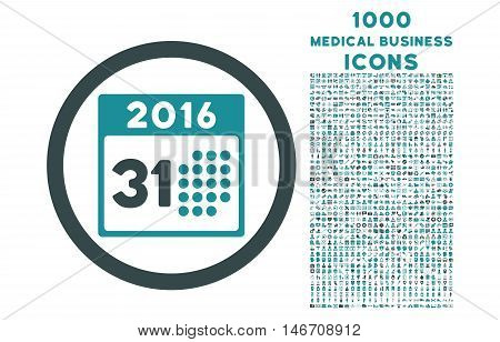 Last 2016 Month Day rounded vector bicolor icon with 1000 medical business icons. Set style is flat pictograms, soft blue colors, white background.
