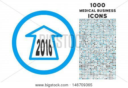 2016 Ahead Arrow rounded vector bicolor icon with 1000 medical business icons. Set style is flat pictograms, blue and gray colors, white background.