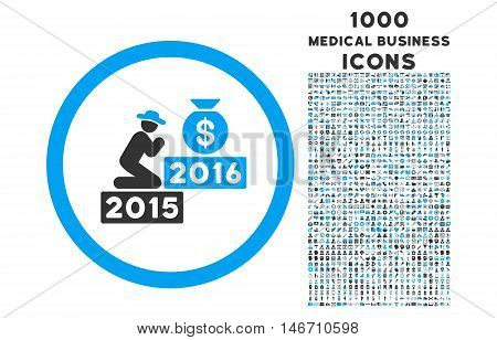 Pray for Money 2016 rounded vector bicolor icon with 1000 medical business icons. Set style is flat pictograms, blue and gray colors, white background.