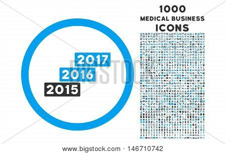Years Stairs rounded vector bicolor icon with 1000 medical business icons. Set style is flat pictograms, blue and gray colors, white background.