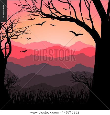 Layered landscape illustarted poster. Vector cartoon illustration of a forest, flying black birds, a tree and grass on the foreground and sunset lighted hills on the background.