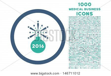 2016 Fireworks Detonator rounded vector bicolor icon with 1000 medical business icons. Set style is flat pictograms, cobalt and cyan colors, white background.