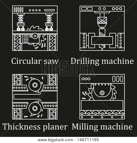 Set Of Four Pictures Of Industrial Machines