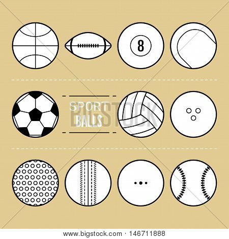 Set of sport balls for different games. Flat icons, sports equipment. Vector illustration