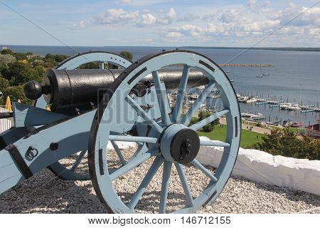 A cannon sits over the Straits of Mackinac, Michigan