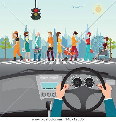 Human hands driving a car on asphalt road with people walking on the crosswalk car interior flat design vector illustration.