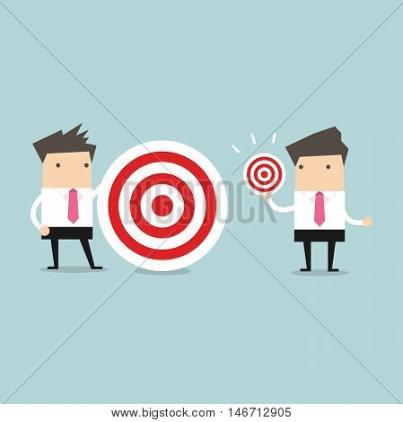 Businessman with different target big and small