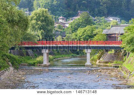Red Nakabashi Bridge at Takayama Chubu Japan