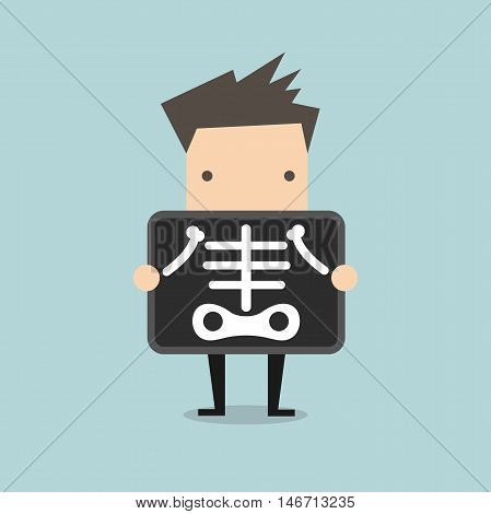 Businessman is getting x-ray examination vector illustration