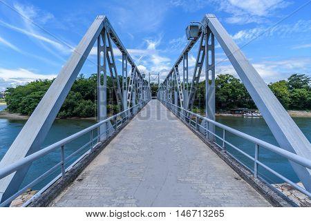Blue Bridge Across Asahi River From Okayama Castle To Korakuen Garden