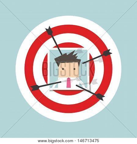 Businessman photo on dart board stick by arrow