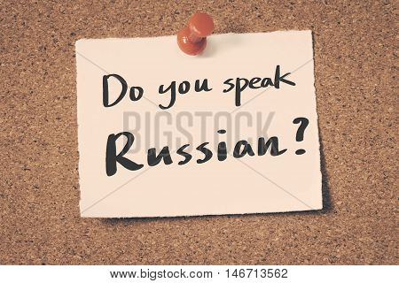 Do you speak Russian? note pin on the bulletin board