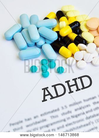 Drugs for Attention Deficit Hyperactive Disorder (ADHD), blurred text