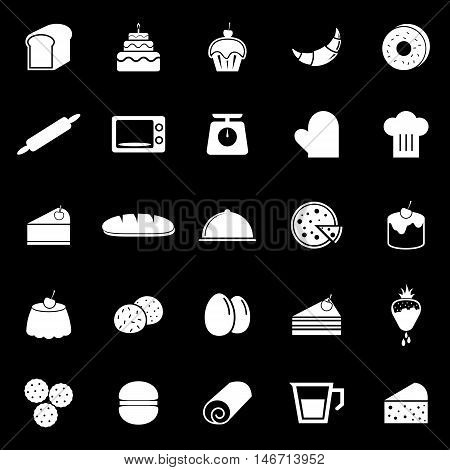 Bakery icons on black background, stock vector