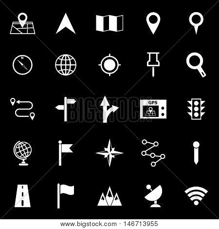Navigation icons on black background, stock vector