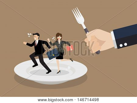 Business people run away from big hungry man. Business concept