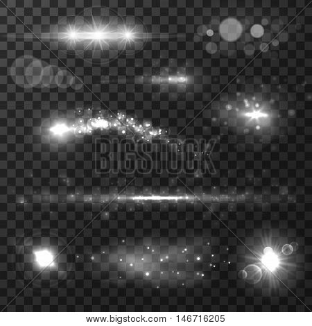 Light effects on transparent background with lens flare, glare, lightning, glowing star and light rays. For art design