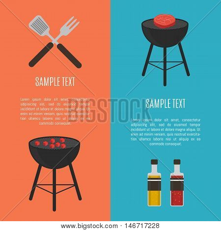 Vector illustrations barbecue grill with grilled meat, sauce and ketchup bottles, grill tools. BBQ party vertical template banner, flyer, promo restaurant poster or background with space for text.
