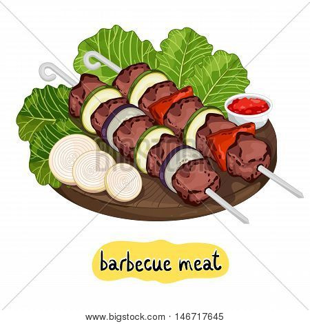 Meat kebab on cutting board isolated on white background vector illustration. Barbecue concept. Kebab icon. BBQ kebab with bbq vegetable and sauce. Barbecue meat. Bbq food.